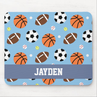 Balls Sports Themed Pattern For Boys Mouse Pad