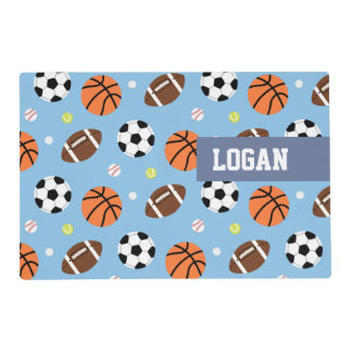 Balls Sports Themed Pattern For Boys Laminated Place Mat