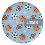 Balls Sports Themed Pattern For Boys Party Plates