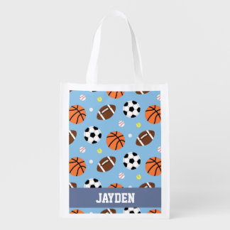 Balls Sports Themed Pattern For Boys Reusable Grocery Bag