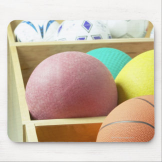 Balls stored in bins mouse pad