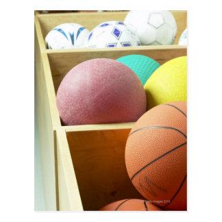 Balls stored in bins postcard