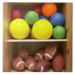 Balls stored in cabinet ceramic tiles
