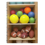 Balls stored in cabinet notebook