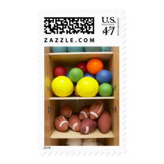 Balls stored in cabinet postage