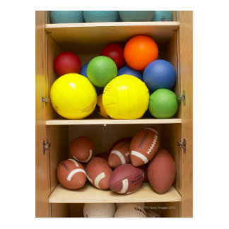 Balls stored in cabinet postcard