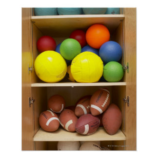 Balls stored in cabinet poster