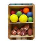 Balls stored in cabinet rectangle magnet