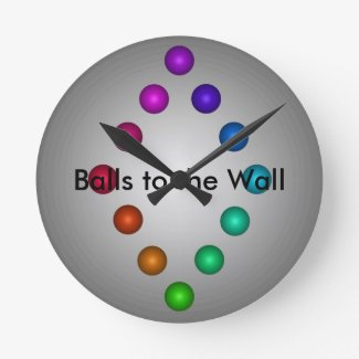 Balls to the Wall Clock Funny 3D Modern Rainbow