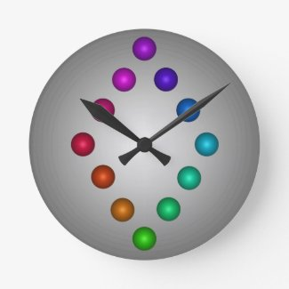 Balls to the Wall Clock Grey Modern Rainbow
