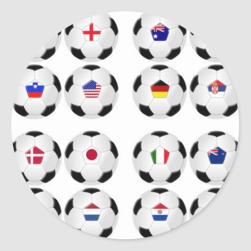 Balls With Flags Round Stickers