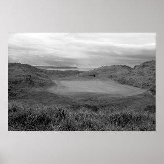 Ballybunion blanco y negro liga el campo de golf póster
