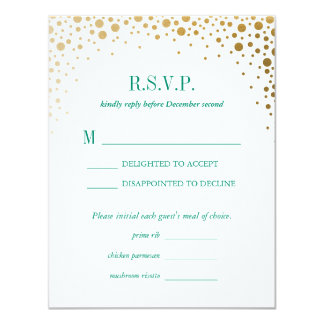 Balmoral Gold Dots Wedding Reply RSVP Card