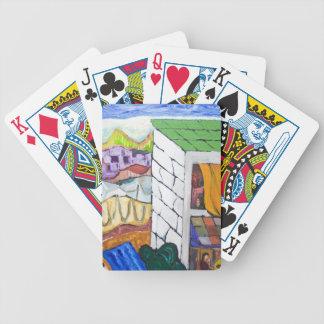 Balneario colorido pintura ingenua barajas de cartas
