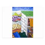 Balneario colorido (pintura ingenua) postal