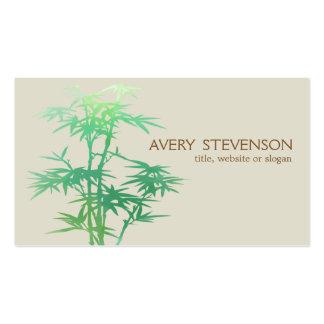Balneario de bambú verde elegante simple de la tarjetas de visita
