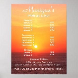Balneario de la salida del sol y lista de precios  impresiones
