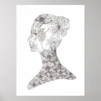 Balneario floral blanco y negro del salón del póster