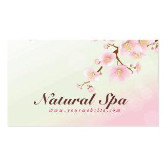 Balneario natural de la flor de cerezo rosada y bl tarjetas de visita