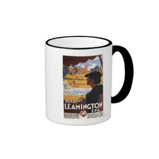 Balneario real, poster del carril del agua potable tazas de café