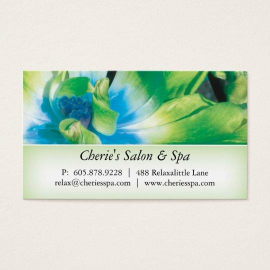 Balneario - tarjeta de visita verde de la flor 1