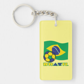 Balón brasileño de la bandera y de fútbol llavero rectangular acrílico a doble cara