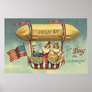 Balón de aire del zepelín de la bandera de los póster