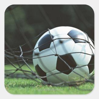 Balón de fútbol 3 pegatina cuadrada