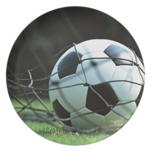 Balón de fútbol 3 platos de comidas