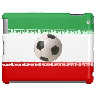 balón de fútbol 3D en rojo, bandera iraní blanca v Funda Para iPad