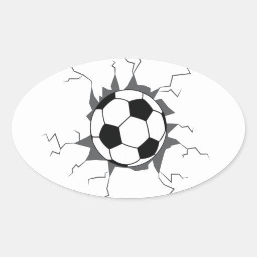 Balón de fútbol a través de la pared pegatina ovalada | Zazzle