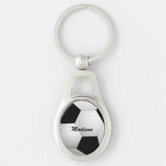 Balón de fútbol adaptable del fútbol llavero plateado ovalado