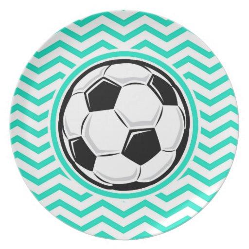 Balón de fútbol; Aguamarina Chevron verde Platos Para Fiestas