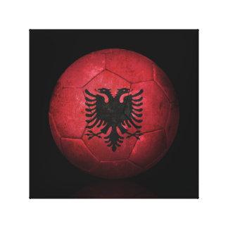 Balón de fútbol albanés gastado de fútbol de bande impresión en lienzo estirada