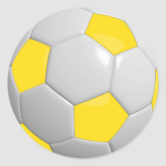 Balón de fútbol amarillo y blanco pegatina redonda
