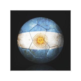Balón de fútbol argentino gastado de fútbol de ban lona estirada galerias