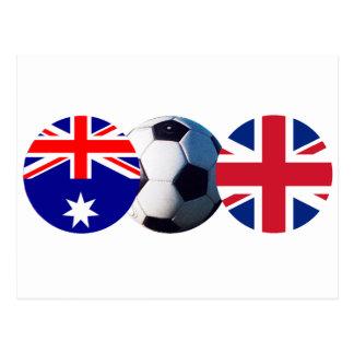 Balón de fútbol Australia y bandera de Reino Unido Postal