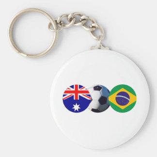 Balón de fútbol Australia y bandera del Brasil el  Llavero Personalizado