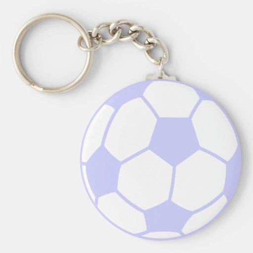 Balón de fútbol azul de la lavanda llavero personalizado