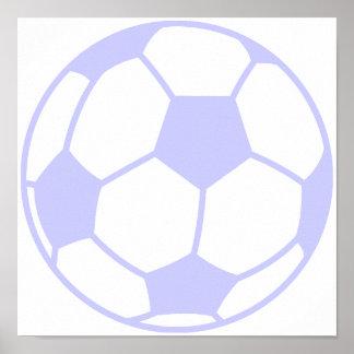 Balón de fútbol azul de la lavanda posters