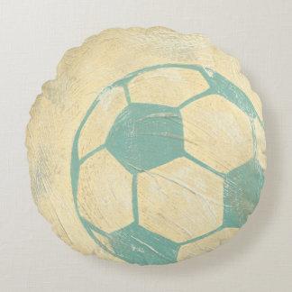 Balón de fútbol azul en colores pastel de cojín redondo
