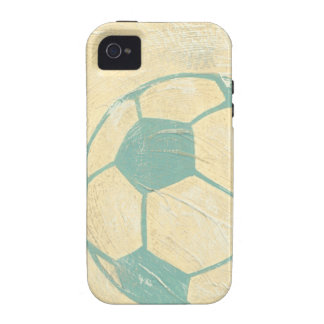 Balón de fútbol azul en colores pastel de vibe iPhone 4 fundas