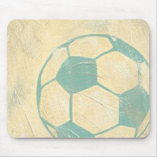 Balón de fútbol azul en colores pastel de mouse pads