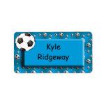 Balón de fútbol azul - etiqueta del nombre de la e etiqueta de dirección