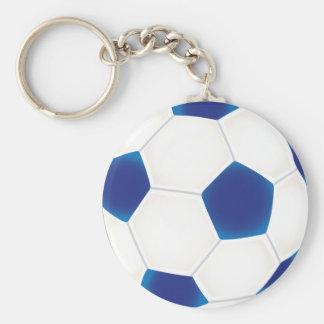 Balón de fútbol azul llavero redondo tipo pin
