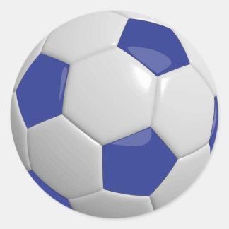 Balón de fútbol azul marino y blanco pegatina redonda