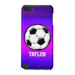 Balón de fútbol; Azul violeta y magenta vibrantes Funda Para iPod Touch 5G