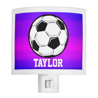 Balón de fútbol; Azul violeta y magenta vibrantes Luces De Noche