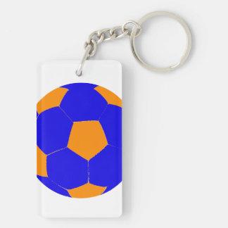 Balón de fútbol azul y anaranjado llavero rectangular acrílico a doble cara