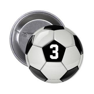 Balón de fútbol blanco y negro de encargo pin redondo de 2 pulgadas